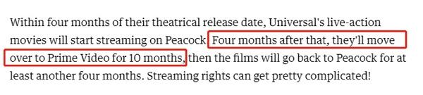 Amazon将在Prime Video中加入环球影业电影